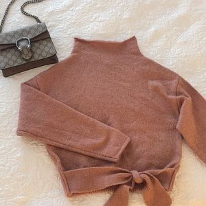 Sweaters - Mock tie waist sweater